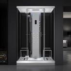 Cabine douche hammam URBAN 140x100 cm avec verres noirs sur 3 côtés