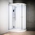 Cabine douche hammam SILVER asymétrique | Version gauche avec vitres blanche