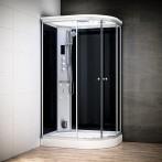 Cabine douche hammam SILVER asymétrique | Version gauche avec vitres noires