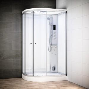 Cabine douche hammam SILVER asymétrique | Version droite avec vitres blanches