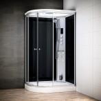 Cabine douche hammam SILVER asymétrique | Version droite avec vitres noires