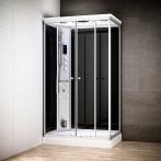 Cabine douche hammam SILVER rectangulaire | Version gauche avec vitres noires