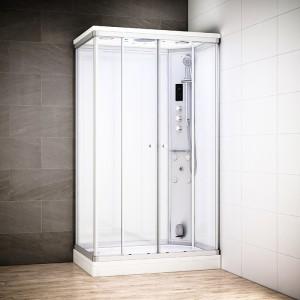Cabine douche hammam SILVER rectangulaire | Version droite avec vitres blanches