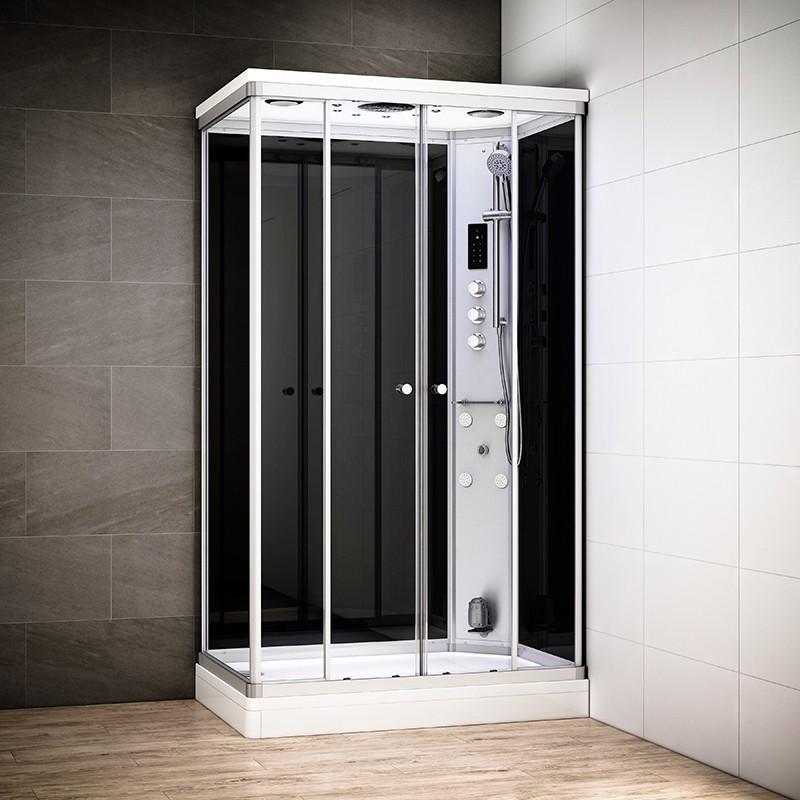 Cabine douche hammam SILVER rectangulaire | Version droite avec vitres noires