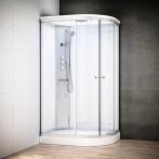 Cabine douche hydromassage SILVER asymétrique | Version gauche avec vitres blanches
