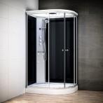 Cabine douche hydromassage SILVER asymétrique | Version droite avec vitres noires