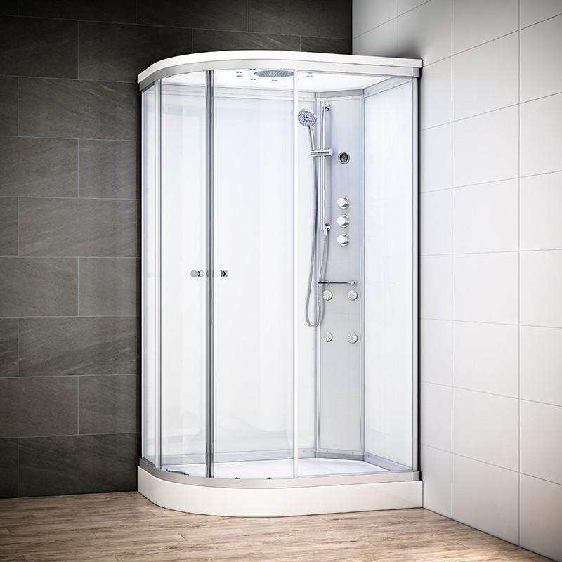 Cabine douche hydromassage SILVER asymétrique | Version droite avec vitres blanches