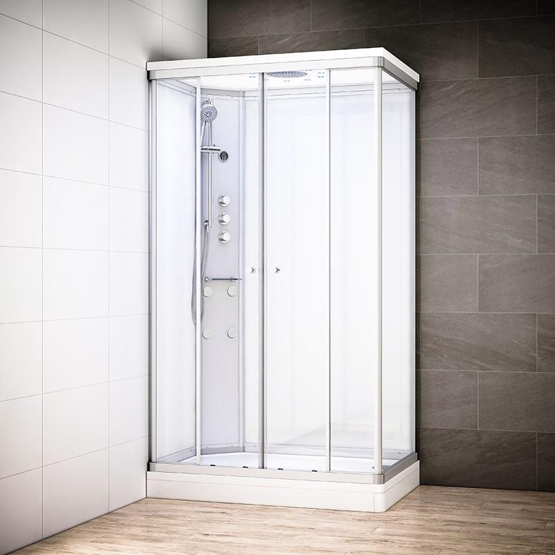 Cabine douche hydromassage SILVER rectangulaire | Version gauche avec vitres blanches