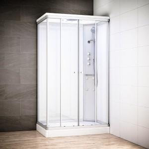 Cabine douche hydromassage SILVER rectangulaire | Version droite avec vitres blanches
