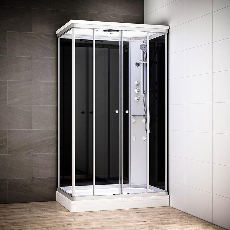 Cabine douche hydromassage SILVER rectangulaire | Version droite avec vitres noires