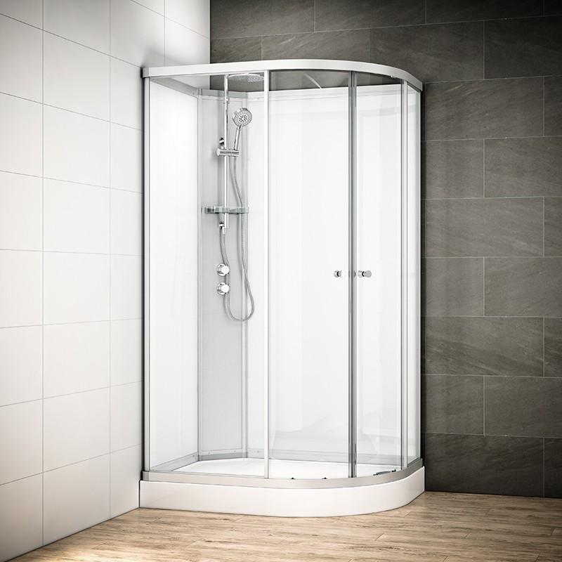 Cabine douche intégrale SILVER asymétrique | Version gauche avec vitres blanches