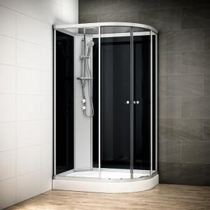 Cabine douche intégrale SILVER asymétrique | Version gauche avec vitres noires