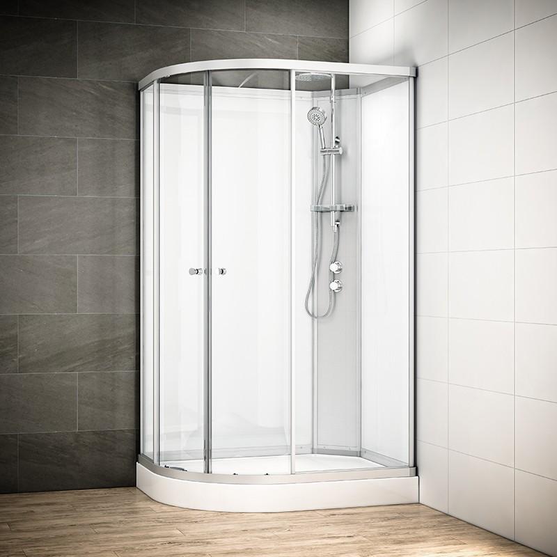Cabine douche intégrale SILVER asymétrique | Version droite avec vitres blanches