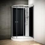Cabine douche intégrale SILVER asymétrique | Version droite avec vitres noires