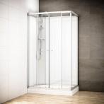 Cabine douche intégrale SILVER rectangulaire | Version gauche avec vitres blanches