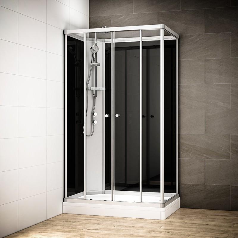 Cabine douche intégrale SILVER rectangulaire | Version gauche avec vitres noires