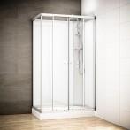 Cabine douche intégrale SILVER rectangulaire | Version droite avec vitres blanches