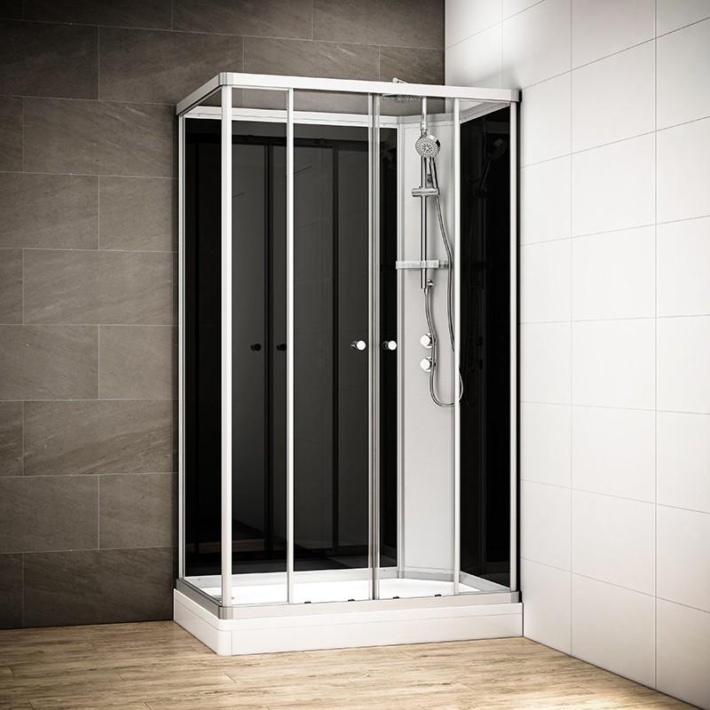 Cabine douche intégrale SILVER rectangulaire | Version droite avec vitres noires
