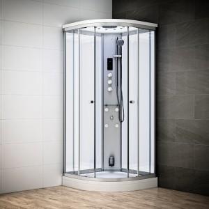 Cabine douche hammam SILVER 1/4 de rond avec vitres blanches