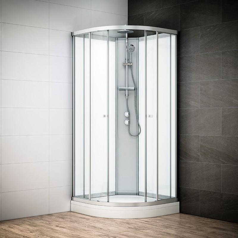Cabine douche intégrale SILVER 1/4 de rond avec vitres blanches