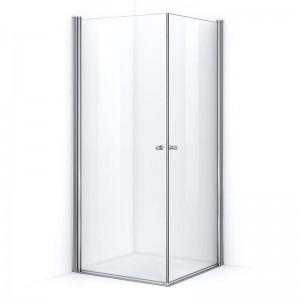 Paroi de douche d'angle 80 x 80 cm avec ouverture pivotante