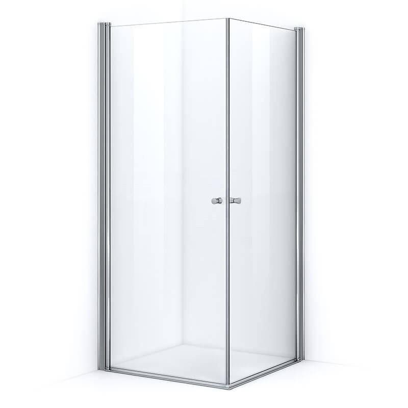 Paroi de douche d'angle 80 x 70 cm avec ouverture pivotante